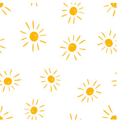 Hand drawn sun icon seamless pattern background vector