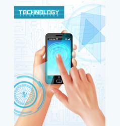 hands smartphone realistic vector image