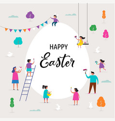 happy easter banner with families and kids vector image