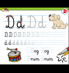 how to write letter d workbook for children vector image