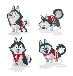 Husky dog with numbers 2018 isolated on white vector