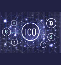 Ico bitcoin and connected currencies set vector