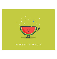 icon of watermelon fruit funny cartoon character vector image