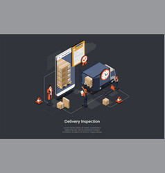 Isometric delivery inspection concept customs vector