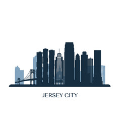 jersey city skyline monochrome silhouette vector image