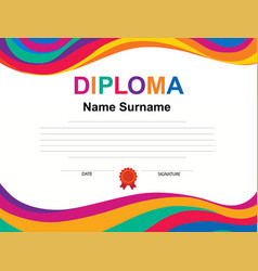 Kids diploma certificate background design vector