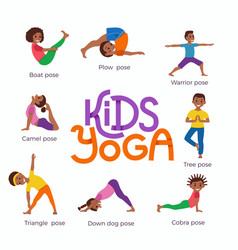 Kids exercise poses and yoga asana set vector