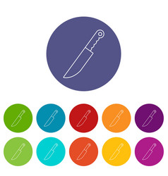 knife icons set color vector image
