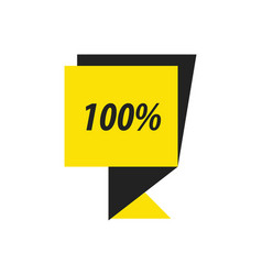 Label hundred percent black yellow vector