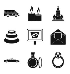 Lady happiness icons set simple style vector