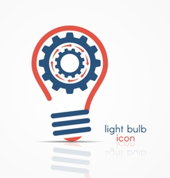 Light bulb idea icon with rotating gears vector