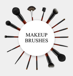 Makeup brushes realistic set frame vector