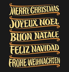 Merry christmas in different languages vector