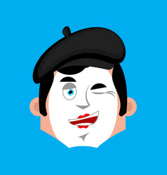 mime winking emotion avatar pantomime happy emoji vector image