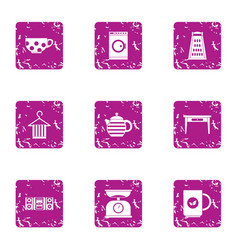 Morning breakfast icons set grunge style vector
