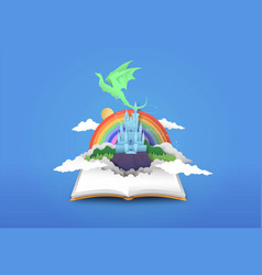 open book 3d papercut magic fantasy story vector image