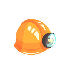 Orange miners helmet mining industry equipment vector