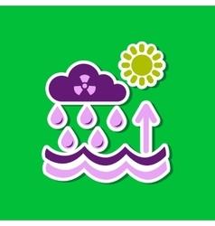 Paper sticker on stylish background radioactive vector