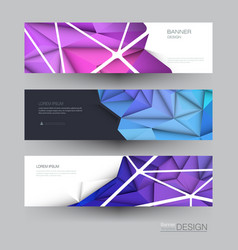 Polygon banner set polygonal or low poly pattern vector