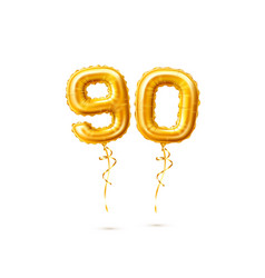 Realistic ninety balloons numbers for party vector