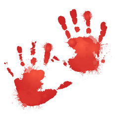 red bloody hand prints with splashes vector image