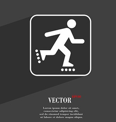 roller skating symbol Flat modern web design with vector image