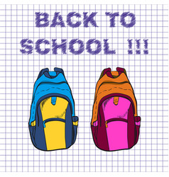 School bag for boy and girl on vector