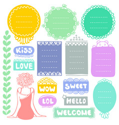 Set doodle frames and elements for diary vector