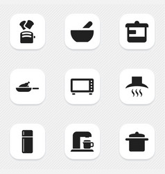 Set of 9 editable food icons includes symbols vector