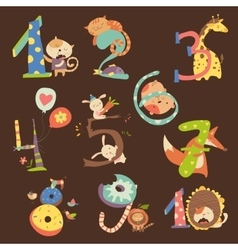 Set of Birthday Anniversary Numbers with Funny vector image