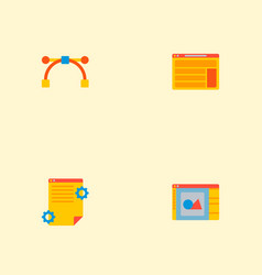 set of wd icons flat style symbols with art vector image