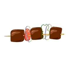 Shish kebab on a wooden stick with vegetables vector