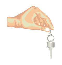 Skin color hand holding metallic keyring and key vector