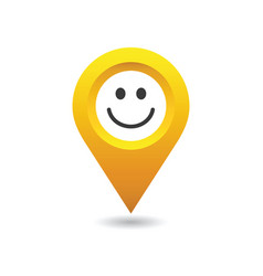 smiley happy location pin vector image