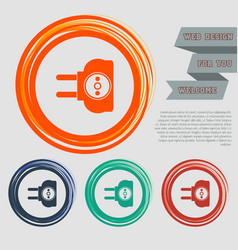 Socket icon on red blue green orange buttons vector