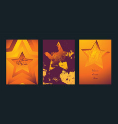 stars in different styles set of cards vector image