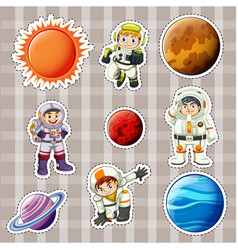 Sticker design for astronaunts and planets vector