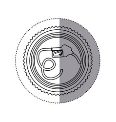 sticker monochrome of circular frame with bio fuel vector image