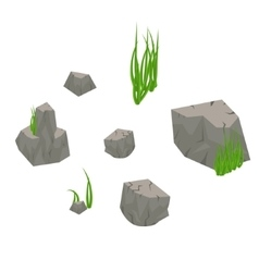 Stone rocks with grass isolated on white vector
