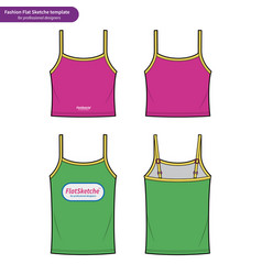 Tank top fashion flat technical drawing template2 vector