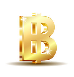 Thai baht golden currency symbol money sign vector