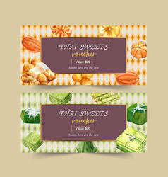 Thai sweet voucher design with pudding mini vector