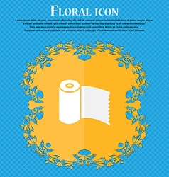 Toilet paper WC roll icon sign Floral flat design vector