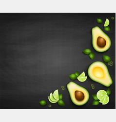 top view background with realistic avocado vector image