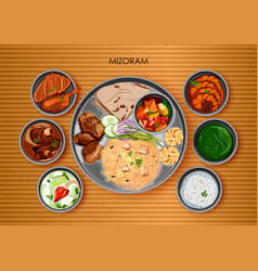 Traditional mizorami cuisine and food meal thali vector