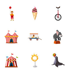 Traveling chapiteau circus icons set vector