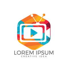 tv media logo design video cam sign vector image