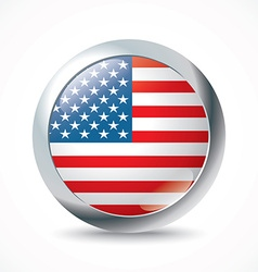 United States of America flag button vector