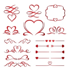 Valentine day set of red arrows dividers and vector