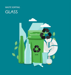 Waste glass sorting flat style design vector
